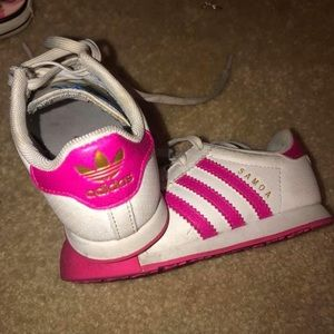 Pink with toddler adidas shoes